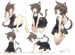 1girl :o animal_ear_fluff animal_ears backless_dress backless_outfit bangs bare_arms bare_legs bare_shoulders barefoot black_dress blue_panties blush braid brown_hair cat_ears cat_girl cat_tail closed_mouth collarbone commentary_request dress eyebrows_visible_through_hair hair_between_eyes heart knees_up leilin long_hair looking_at_viewer multiple_views open_mouth original panties red_eyes signature simple_background single_braid sleeveless sleeveless_dress tail tail_raised underwear v-shaped_eyebrows white_background