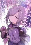 1girl feff672166 flower granblue_fantasy hair_over_one_eye harvin hat hat_removed headwear_removed nio_(granblue_fantasy) pointy_ears ponytail purple_hair violet_eyes white_background wisteria