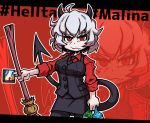 1girl ahoge black_neckwear breasts character_name collared_shirt copyright_name demon_girl demon_horns demon_tail eyebrows_visible_through_hair helltaker horns large_breasts long_sleeves looking_at_viewer malina_(helltaker) messy_hair necktie red_eyes red_shirt setter_(seven_stars) shirt short_hair solo tail white_hair