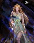 1girl abstract_background absurdres armband blonde_hair closed_mouth dress elf feet_out_of_frame flower gold_necklace green_eyes highres holding holding_weapon huge_filesize jewelry long_hair looking_at_viewer marthhh master_sword multicolored multicolored_background necklace pointy_ears princess_zelda signature solo sparkle sparks sword the_legend_of_zelda the_legend_of_zelda:_breath_of_the_wild weapon white_dress