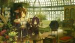 2girls absurdres alchemy animal_ear_fluff animal_ears apron arknights armband bare_shoulders black_dress black_gloves black_jacket black_legwear blue_apron blue_jacket blue_ribbon book bottle brown_eyes brown_hair cat_ears cauldron chair chemistry_set choker commentary_request copyright_name couch cupboard cushion dress dropper expressionless eyebrows_visible_through_hair fingerless_gloves flower fox_ears fur-trimmed_jacket fur_jacket fur_trim furniture gloves hair_ornament hair_ribbon handkerchief hands_on_own_knees highres hihara_you holding holding_bottle huge_filesize indoors jacket knee_up laboratory long_hair long_sleeves looking_afar looking_at_object melantha_(arknights) multicolored_hair multiple_girls official_art own_hands_together parted_lips perfumer_(arknights) plant ponytail potion potted_plant purple_armband purple_dress red_eyes ribbon scales shiny shiny_hair sitting smile table tagme test_tube thigh-highs two-tone_dress two-tone_hair vial waist_apron white_dress white_fur window