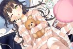 1girl ;o alarm_clock bed_sheet black_hair blush cellphone clock commentary_request drawing_tablet earphones earphones green_eyes hand_up highres hood hood_down hooded_jacket idemitsu jacket knee_up long_hair long_sleeves looking_at_viewer loungewear lying object_hug on_back one_eye_closed open_mouth original pants phone phone_with_ears roman_numerals sleeves_past_wrists socks socks_removed solo striped striped_jacket striped_legwear striped_pants stuffed_animal stuffed_toy stylus tears teddy_bear upper_teeth very_long_hair yawning
