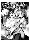 1girl 2boys :o braid braided_ponytail eyebrows_visible_through_hair faulds fire floating_hair greyscale highres holding holding_scythe iwatani_naofumi l'arc_berg_sickle long_hair long_skirt minami_seira monochrome multiple_boys novel_illustration official_art outstretched_arm ponytail scythe shiny shiny_hair skirt spiky_hair tate_no_yuusha_no_nariagari tattoo therese_alexanderite very_long_hair