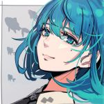 1girl black_neckwear blue_eyes blue_hair bob_cut bright_pupils close-up closed_mouth fish from_side looking_at_viewer looking_to_the_side necktie original pokimari profile short_hair smile solo