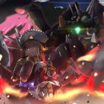android battle energy_wings fighting_stance fire from_behind fukkatsu_saisei_kaijin gargoyle_(xenoblade) glowing highres jetpack kiku_(xenoblade_2) maid_dress maid_headdress mecha xenoblade_(series) xenoblade_2
