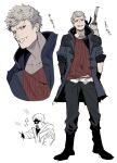 1boy blood blue_coat blue_eyes boots coat devil_may_cry devil_may_cry_5 grey_hair hands_in_pockets highres hood hood_down male_focus mayutsuba_mono mechanical_arm multiple_views nero_(devil_may_cry) open_mouth simple_background sketch sleeves_rolled_up smile solo standing sword teeth torn_clothes weapon weapon_on_back white_background