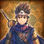 1boy absurdres anbe_yoshirou belt black_hair cape circlet commentary dragon_quest dragon_quest_iii highres looking_at_viewer male_focus map map_background roto solo spiky_hair sword upper_body weapon