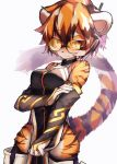 absurdres animal_ears arknights bangs breasts bridal_gauntlets china_dress chinese_clothes dress furry glasses highres multicolored_hair pelvic_curtain round_eyewear simple_background streaked_hair tab_head tail tiger_ears tiger_girl tiger_stripes tiger_tail waai_fu_(arknights)