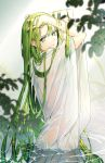 absurdres androgynous blurry depth_of_field edagerion enkidu_(fate/strange_fake) fate_(series) green_eyes green_hair grin hands_in_hair highres looking_at_viewer robe see-through smile solo water wet wet_clothes wet_hair