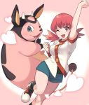 1girl ;d akane_(pokemon) arm_up bangs blue_shorts breasts chorefuji clenched_hands commentary_request eyebrows_visible_through_hair eyelashes gen_2_pokemon heart knees looking_at_viewer medium_breasts miltank multicolored_footwear one_eye_closed open_mouth pink_background pink_eyes pink_hair pokemon pokemon_(creature) pokemon_(game) pokemon_hgss shiny shiny_hair shoes short_twintails shorts smile socks striped striped_legwear twintails twisted_torso
