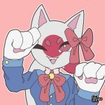 1girl animal_ears bell blue_jacket cat_ears cat_tail commentary countryhumans english_commentary fangs happy highres jacket japan_(countryhumans) looking_at_viewer nnyes one_eye_closed open_mouth paws pink_background red_eyes red_ribbon ribbon signature simple_background smile solo tail teeth thick_eyebrows tongue white_skin