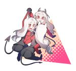 3girls :d animal_ears bent_over black_gloves black_pants black_vest buttoniris cerberus_(helltaker) commentary demon_tail dog_ears fang fang_out gloves helltaker highres holding_hands interlocked_fingers long_hair long_sleeves looking_at_another looking_at_viewer low-tied_long_hair multiple_girls open_mouth pants red_eyes red_shirt shirt smile symbol_commentary tail vest white_hair
