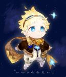 1boy bangs blonde_hair blue_eyes blush bright_pupils character_name chibi english_text fate/grand_order fate_(series) full_body glowing long_sleeves male_focus open_hands parted_bangs scarf simple_background sky solo space spacesuit star star_(sky) starry_background starry_sky tetsu_(teppei) voyager_(fate/requiem) yellow_scarf