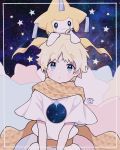 1boy 1other baggy_clothes bangs blonde_hair blue_eyes blush bright_pupils character_request creature eyebrows_visible_through_hair fate/grand_order fate_(series) full_body glowing highres male_focus namigon open_mouth parted_bangs pokemon robe scarf short_sleeves simple_background sky smile space star star_(sky) starry_background starry_sky voyager_(fate/requiem) yellow_scarf