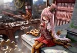 1girl arch_bridge artificial_eye bug building butterfly clock clock_tower copyright_name cowboy_shot cravat day gears hat insect long_hair mecha_musume mechanical_butterfly mechanical_eye mechanical_hands mechanical_legs outdoors red_eyes red_skirt ryosios silver_hair sitting skirt smile smog solo steam_punk_street_(game) steampunk steampunk_girl_(ryosios) top_hat tower very_long_hair