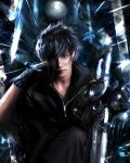 1boy abstract_background absurdres black_hair black_jacket closed_mouth engine_blade final_fantasy final_fantasy_xv gloves hand_on_own_face highres jacket leather leather_jacket looking_at_viewer marthhh moon night night_sky noctis_lucis_caelum red_eyes reflection short_hair signature sitting sky solo star_(sky) starry_sky sword weapon