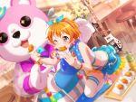 bang_dream! blush dress kitazawa_hagumi orange_hair red_eyes short_hair wink