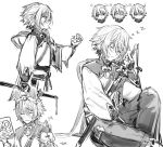 1boy animal_ears bangs blush bridal_gauntlets closed_eyes csyday fate/grand_order fate_(series) gao_changgong_(fate) greyscale hair_between_eyes long_sleeves monochrome multiple_views open_mouth puffy_long_sleeves puffy_sleeves rabbit_ears sash short_hair simple_background sitting sleeping smile sword weapon white_background zzz