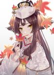 1girl bangs breasts brown_hair closed_mouth csyday fate/grand_order fate/requiem fate_(series) floral_print hair_ornament hairpin japanese_clothes kijo_kouyou_(fate) kimono leaf long_hair long_sleeves looking_at_viewer maple_leaf parted_bangs ponytail red_lips sidelocks simple_background smile tassel very_long_hair white_background white_headwear white_kimono wide_sleeves yellow_eyes