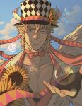 1boy artist_name bangs bara blonde_hair bubble caesar_anthonio_zeppeli catneylang chest clouds cloudy_sky collarbone day eyebrows_visible_through_hair facial_mark feathers fingerless_gloves flower gloves green_eyes hair_between_eyes hair_feathers hat highres jacket jojo_no_kimyou_na_bouken looking_at_viewer male_focus neck_ribbon one_eye_closed outdoors pectorals ribbon sky smile solo sunflower upper_body