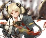 1girl arknights brown_background commentary_request eyebrows_visible_through_hair flamethrower grin highres horns ifrit_(arknights) multicolored multicolored_background orange_eyes originium_(arknights) platinum_blonde_hair slit_pupils smile solo sparkle tail user_wtjz7445 weapon white_background