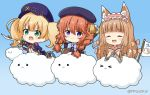>_< 3girls :3 :d ^_^ animal_ear_fluff animal_ears ascot axe bangs beret black_coat black_headwear blonde_hair blue_background blue_bow blush boots bow braid brown_bow brown_hair brown_kimono cabbie_hat chibi closed_eyes closed_mouth clouds coat commentary_request dog_ears dog_girl dog_tail eyebrows_visible_through_hair fang flag flower glint gradient gradient_background green_eyes hair_between_eyes hair_bow hat holding holding_sword holding_weapon hood hood_down hooded_coat jacket japanese_clothes kimono long_hair long_sleeves looking_at_viewer maho_(princess_connect!) miicha monika_weisswind multiple_girls open_clothes open_jacket open_mouth outstretched_arm pink_flower princess_connect! princess_connect!_re:dive purple_headwear purple_jacket red_neckwear saber_(weapon) shirt sleeves_past_wrists smile solid_circle_eyes sword tail twin_braids twintails twitter_username v-shaped_eyebrows very_long_hair violet_eyes weapon white_shirt wide_sleeves yuni_(princess_connect!)