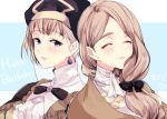 2girls age_comparison blonde_hair blue_eyes bow closed_eyes closed_mouth dated earrings fire_emblem fire_emblem:_three_houses hair_bow happy_birthday jewelry long_hair low_ponytail mercedes_von_martritz multiple_girls naho_(pi988y) short_hair simple_background smile twitter_username upper_body veil