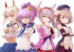 4girls animal_ears ayanami_(azur_lane) azur_lane bangs bare_shoulders beret blonde_hair blue_sailor_collar blush bottle bow breasts camisole commentary_request crop_top cross_hair_ornament crown dress eyebrows_visible_through_hair fake_animal_ears hair_between_eyes hair_bow hair_ornament hairband hat headgear high_ponytail highres holding holding_bottle jacket javelin_(azur_lane) laffey_(azur_lane) long_hair long_sleeves looking_at_viewer mg42cat-k1ng mini_crown multiple_girls open_mouth orange_eyes pink_jacket platinum_blonde_hair pleated_skirt ponytail purple_hair rabbit_ears red_eyes red_hairband red_skirt revision ribbon sailor_collar school_uniform shirt short_hair sidelocks silver_hair simple_background skirt sleeveless sleeveless_shirt smile striped striped_bow tilted_headwear twintails very_long_hair white_background white_camisole white_dress white_shirt yellow_neckwear z23_(azur_lane)