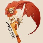 1boy adeu_warsam armor belt brown_background cape character_name copyright_name english_text green_eyes hair_between_eyes haou_taikei_ryuu_knight helmet highres holding holding_sword holding_weapon k-mica knight lower_teeth male_focus open_mouth pauldrons red_cape redhead simple_background solo sword teeth tongue torn_cape torn_clothes vambraces weapon