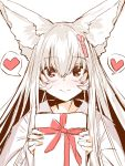 1girl animal_ear_fluff animal_ears bangs box closed_mouth eyebrows_visible_through_hair fox_ears gift gift_box hair_between_eyes heart highres holding holding_gift japanese_clothes kimono long_hair looking_at_viewer original red_eyes simple_background smile solo spoken_heart upper_body white_background white_hair white_kimono yuuji_(yukimimi)