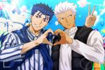 2boys akujiki59 alternate_costume amusement_park baggy_clothes balloon blue_hair blue_scarf brown_eyes camera castle collared_shirt couple cu_chulainn_(fate)_(all) dark_skin dark_skinned_male earrings fate/stay_night fate_(series) heart heart_hands heart_hands_duo hood hood_down hoodie jewelry lancer long_hair long_sleeves looking_at_viewer looking_to_the_side male_focus multiple_boys ponytail red_eyes scarf shirt sleeveless sleeveless_hoodie smile spiky_hair sweater upper_body white_hair white_sweater yaoi