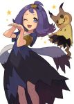 1girl ;d acerola_(pokemon) armlet bangs chorefuji collarbone commentary_request dress eyelashes gen_7_pokemon grey_eyes hair_ornament hands_together knees medium_hair mimikyu one_eye_closed open_mouth pokemon pokemon_(creature) pokemon_(game) pokemon_sm purple_hair short_sleeves smile star tied_hair white_background