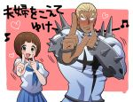 1boy 1girl armor bangs blonde_hair blue_neckwear blue_sailor_collar blue_skirt blunt_bangs blush bob_cut bracer breasts brown_eyes brown_hair commentary cowboy_shot foreshortening full-face_blush gamagoori_ira he_pu_pu heart index_finger_raised kill_la_kill koi_dance looking_at_viewer mankanshoku_mako medium_breasts musical_note neckerchief nose_blush outside_border pink_background pleated_skirt sailor_collar sanpaku school_uniform serafuku shirt short_hair size_difference skirt spiked_armor tan translated uniform white_background white_shirt