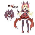 1girl animal animal_ears baniran_dorosu bare_shoulders bat bat_ears black_legwear blonde_hair character_sheet closed_mouth hair_between_eyes hair_ornament heart heart_hair_ornament heterochromia long_hair low_wings multicolored multicolored_hair navel orange_eyes orange_hair original pointy_ears redhead simple_background sketch smile torn_wings twintails vampire white_background wings yellow_eyes