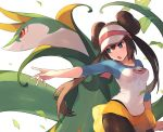 1girl black_legwear blue_eyes breasts brown_hair chorefuji collarbone commentary_request double_bun ear gen_5_pokemon leaf mei_(pokemon) open_mouth pantyhose poke_ball_symbol pokemon pokemon_(creature) pokemon_(game) pokemon_bw2 raglan_sleeves serperior shirt short_shorts shorts sidelocks simple_background size_difference tongue twintails two-tone_headwear visor_cap white_background white_headwear yellow_shorts