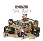 5girls anti-rain_(girls_frontline) ar-15 assault_rifle chibi closed_eyes english_text girls_frontline ground_vehicle gun gun_case highres jltv m16 m16a1_(girls_frontline) m4_carbine m4_sopmod_ii_(girls_frontline) m4a1_(girls_frontline) motor_vehicle multiple_girls nemomo rifle ro635_(girls_frontline) scope st_ar-15_(girls_frontline) weapon