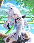 1girl ahoge animal_ear_fluff animal_ears bamboo_shoot black_legwear black_shorts blue_eyes blue_sky blush braid breasts clouds cloudy_sky commentary cowboy_shot day detached_sleeves eyebrows_visible_through_hair fang fox_ears fox_tail hair_between_eyes highres hololive in_tree long_hair looking_at_viewer medium_breasts mountain open_mouth oruyanke_(fubuki_channel) outdoors ponytail rice_paddy shirakami_fubuki short_shorts shorts side_braid single_thighhigh sitting sitting_in_tree sky smile solo tail telephone_pole thigh-highs thigh_strap tree v v_over_eye virtual_youtuber white_hair white_hoodie wstckhl
