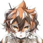 1girl animal_ears arknights artist_name china_dress chinese_clothes claws dress furry gie multicolored_hair nail_polish open_mouth orange_eyes snout streaked_hair tiger_ears tiger_girl tiger_stripes waai_fu_(arknights) white_fur