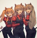 3girls animal_ears black_gloves brown_eyes brown_hair cerberus_(helltaker) cerberus_(helltaker)_(cosplay) cosplay demon_tail dog_ears fangs girls_frontline gloves green_eyes helltaker highres long_hair multiple_girls orange_eyes orange_hair puffy_sleeves side_ponytail sidelocks tail tied_hair twintails ump40_(girls_frontline) ump45_(girls_frontline) ump9_(girls_frontline) very_long_hair vest xanax025