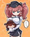 ... 2girls anchor_hair_ornament asimo953 atlanta_(kantai_collection) black_headwear black_skirt blue_eyes blush blush_stickers breast_rest breasts brown_hair chibi commentary_request earrings flying_sweatdrops garrison_cap garter_straps gloves hair_flaps hair_ornament hairband hat hatsuzuki_(kantai_collection) highres hug jewelry kantai_collection large_breasts long_hair long_sleeves looking_at_another multiple_girls nose_blush shirt simple_background skirt star_(symbol) star_earrings suspender_skirt suspenders sweatdrop thigh_strap two_side_up white_gloves white_shirt