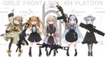 404_(girls_frontline) 404_logo_(girls_frontline) 5girls absurdres acog assault_rifle blue_hair brown_hair english_text g11_(girls_frontline) girls_frontline grey_hair grip gun h&k_g11 h&k_hk416 h&k_ump h&k_ump40 h&k_ump45 h&k_ump9 highres hk416_(girls_frontline) kilabo multiple_girls rifle scope silver_hair smile submachine_gun suppressor ump40_(girls_frontline) ump45_(girls_frontline) ump9_(girls_frontline) weapon younger