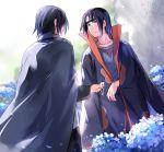 2boys akatsuki_(naruto) black_hair brothers cape cloak closed_mouth confused field flower flower_field forehead_protector hand_on_another's_cheek hand_on_another's_face headband height_difference hydrangea jewelry konohagakure_symbol long_hair male_focus medium_hair multiple_boys naruto naruto_(series) naruto_shippuuden necklace ninja ponytail s86070070 short_hair siblings smile tied_hair uchiha_itachi uchiha_sasuke