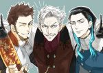 3boys beard black_hair blue_background blue_eyes blue_hair brown_hair cigar collar cravat facial_hair fate/grand_order fate_(series) formal gloves glowing glowing_hair goatee gradient_hair grey_hair james_moriarty_(fate/grand_order) long_hair long_sleeves looking_at_viewer male_focus military military_uniform misamisa21 multicolored_hair multiple_boys mustache napoleon_bonaparte_(fate/grand_order) nikola_tesla_(fate/grand_order) old_man sash shiny shiny_hair shoulder_support sideburns simple_background smile uniform upper_body v vest