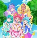 5girls :d ;d ahoge aqua_eyes aqua_hair bangs bead_choker black_choker blonde_hair blue_dress blue_eyes blue_gloves blunt_bangs bow bracelet choker circlet cure_cosmo cure_milky cure_selene cure_soleil cure_star dark_skin day dress earrings elbow_gloves gloves hair_ornament highres index_finger_raised jewelry long_hair looking_at_viewer multiple_girls official_art one_eye_closed open_mouth orange_eyes outdoors paw_pose pink_choker pink_dress pink_earrings pink_eyes pink_hair pointy_ears precure puffy_sleeves purple_bow purple_hair scrunchie smile star_(symbol) star_hair_ornament star_twinkle_precure tree twintails violet_eyes wrist_scrunchie