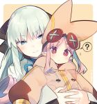 2girls ? artist_name baggy_clothes bangs black_bow blue_eyes blush bow closed_mouth commentary_request dress eyebrows_visible_through_hair fate/grand_order fate_(series) fingernails habetrot_(fate) hair_bow hat holding holding_another hood hood_down hug hug_from_behind long_hair long_sleeves morgan_le_fay_(fate) multiple_girls orange_headwear parted_bangs pink_hair pointy_ears red_eyes sidelocks silver_hair size_difference speech_bubble upper_body white_dress yuzuki_gao