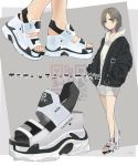 1girl absurdres black_jacket brown_hair chicanno_mizki commentary_request english_text hands_in_pockets highres hood hoodie jacket multiple_views open_clothes open_jacket original platform_footwear qr_code sandals short_hair solo translation_request white_hoodie