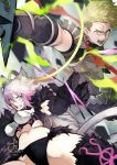 1boy 1girl absurdres achilles_(fate) agrius_metamorphosis ahoge anger_vein animal_ears armor atalanta_(alter)_(fate) atalanta_(fate) bangs black_legwear blurry blurry_background breasts cat_ears dynamic_pose fate/apocrypha fate/grand_order fate_(series) fighting fighting_stance fur_gloves fur_trim gloves gradient_hair green_eyes green_hair hair_between_eyes highres holding holding_weapon legs long_hair looking_at_viewer medium_breasts multicolored_hair open_mouth revealing_clothes sash silver_hair tail veins weapon yellow_eyes yoshio_(55level)