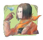1boy android android_17 bandana bird bird_on_finger black_hair black_shirt blue_eyes brown_coat brown_gloves brown_jacket coat dragon_ball dragon_ball_gt gloves green_background happy hell_fighter_17 jacket male_focus medium_hair neckerchief nerinriume robot shirt short_hair simple_background smile solo t-shirt upper_body