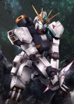 aiyat_@_maotto beam_saber char's_counterattack commentary_request energy_sword glowing glowing_eye green_eyes gundam highres light_particles logo looking_at_viewer mecha no_humans nu_gundam solo standing sword weapon