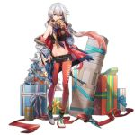 1girl alternate_costume aqua_eyes aqua_ribbon arm_warmers bangs bare_shoulders belt black_shorts blue_coat breasts christmas_ornaments christmas_tree coat covered_mouth crop_top cross-laced_footwear floating_hair full_body fur-trimmed_coat fur_trim gift girls_frontline hair_between_eyes highleg highleg_panties holding jacket long_hair looking_at_viewer low_twintails lwmmg_(girls_frontline) medium_breasts midriff multicolored_hair navel off_shoulder official_art panties pantyhose pink_hair pink_legwear purple_scarf red_coat red_panties rff_(3_percent) ribbon scarf short_shorts shorts silver_hair sleeveless solo standing stomach stuffed_animal stuffed_toy transparent_background twintails two-tone_hair underwear weapon_case white_footwear wind